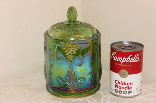 Indiana Carnival Glass Candy Jar, Harvest Grape, Beautiful Green Iridescent, 7""