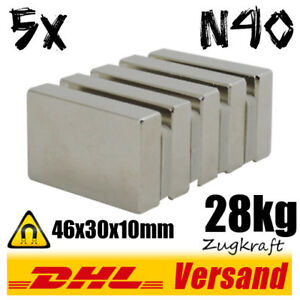 Details about 5x Neodymium Magnet Block 46x30x10 N40 61 7lbs Pull Strength  - Industrial