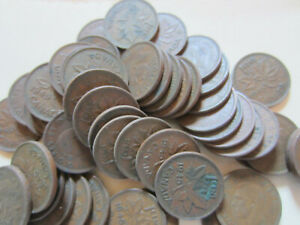 50 Coins Roll of 1954 Canada Small Cents