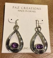 ❤️or Paz Creations Sterling Silver 925 Dangling Earrings Amethyst Israel