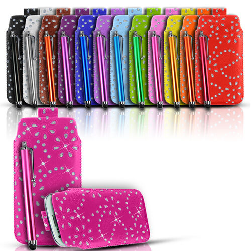 QUALITY DIAMOND BLING LEATHER PULL TAB CASE COVER & STYLUS FOR VARIOUS MOBILES