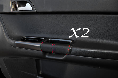 RED STITCHING FITS VOLVO S40 & V50 04-13 2X FRONT DOOR HANDLE LEATHER COVERS