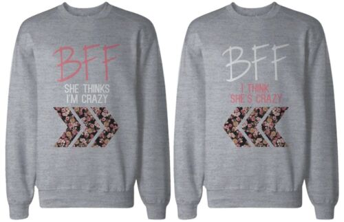 BFF Floral Print Grey Sweatshirts Cute Matching Sweatshirts for Best Friends