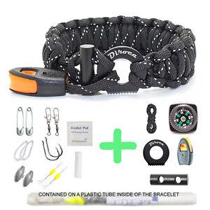 Paracord-Bracelet-Survival-Gear-Reflective-Black-550-Parachute-Cord-19-in-1