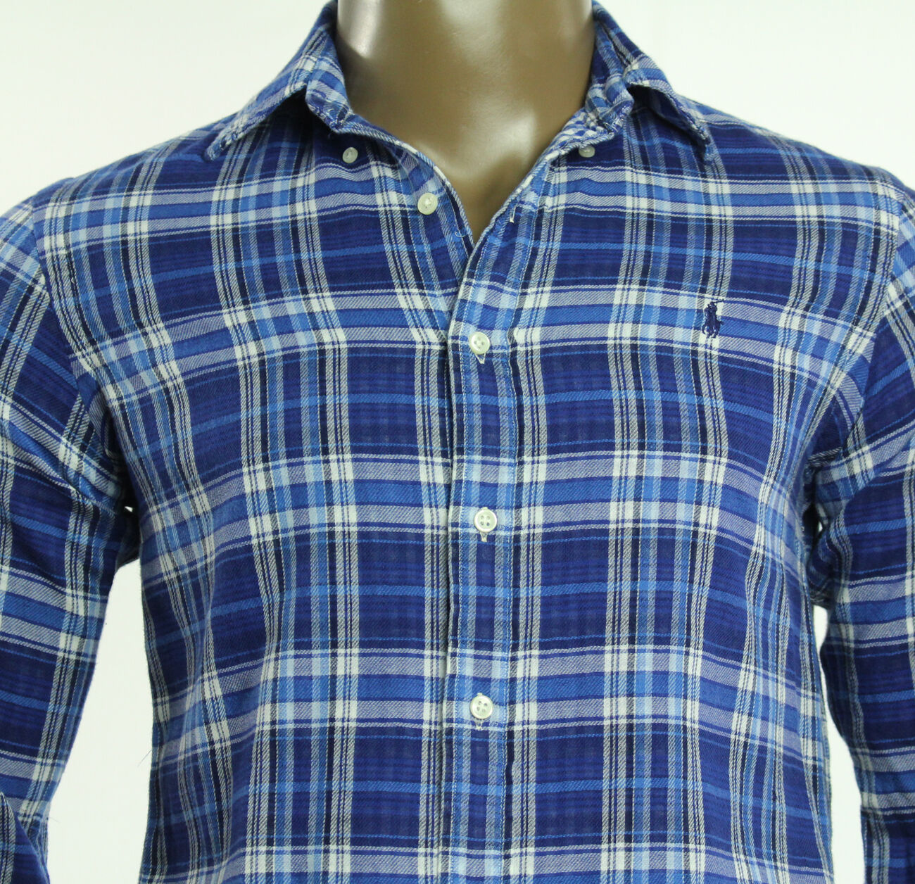 $125 New Mens Polo Ralph Lauren Royal Navy Double Faced Plaid Shirt XL