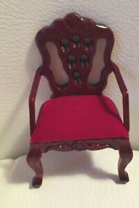 Brand-New-Dolls-House-Miniature-Mahogany-Plush-Red-Velour-Detailed-Dining-Chair