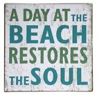 "Tin Sign ""A Day At The Beach..."" 30cm Metal Marine Theme Beach Decor New"