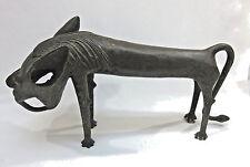 Extremely Rare Antique African Tribal Benin Cast Bronze Lion Sculpture c 1800