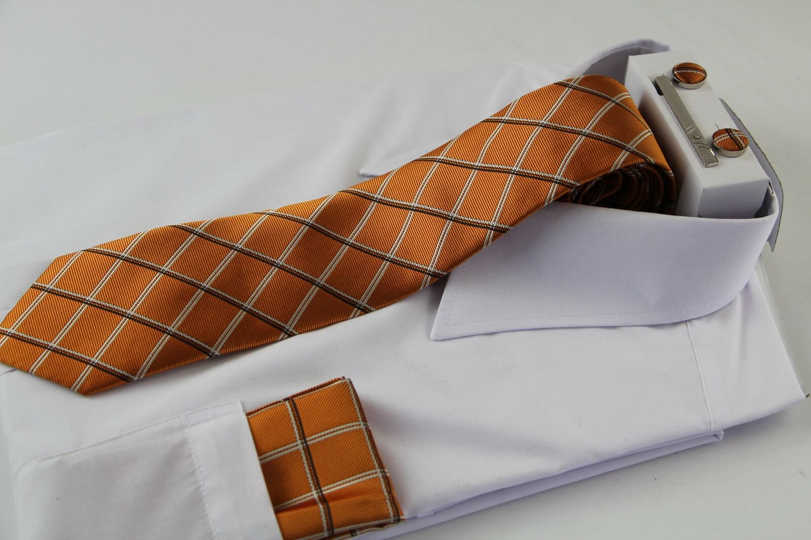 Mens Orange & White Checkered Matching Neck Tie, Pocket Square, Cuff Links And