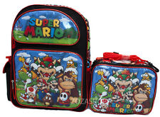 """Super Mario Bros. 16"""" School Large Backpack & Lunch Bag 2 pc set NEW!!"""