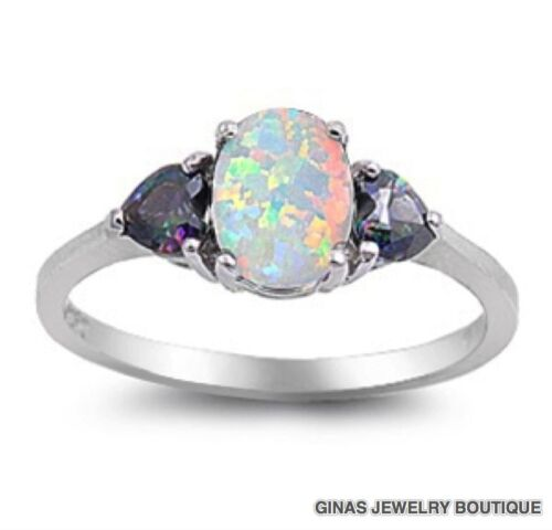 PRETTY WHITE OVAL OPAL With RAINBOW TOPAZ RING Sterling Silver 5,6,7,8,9,10,