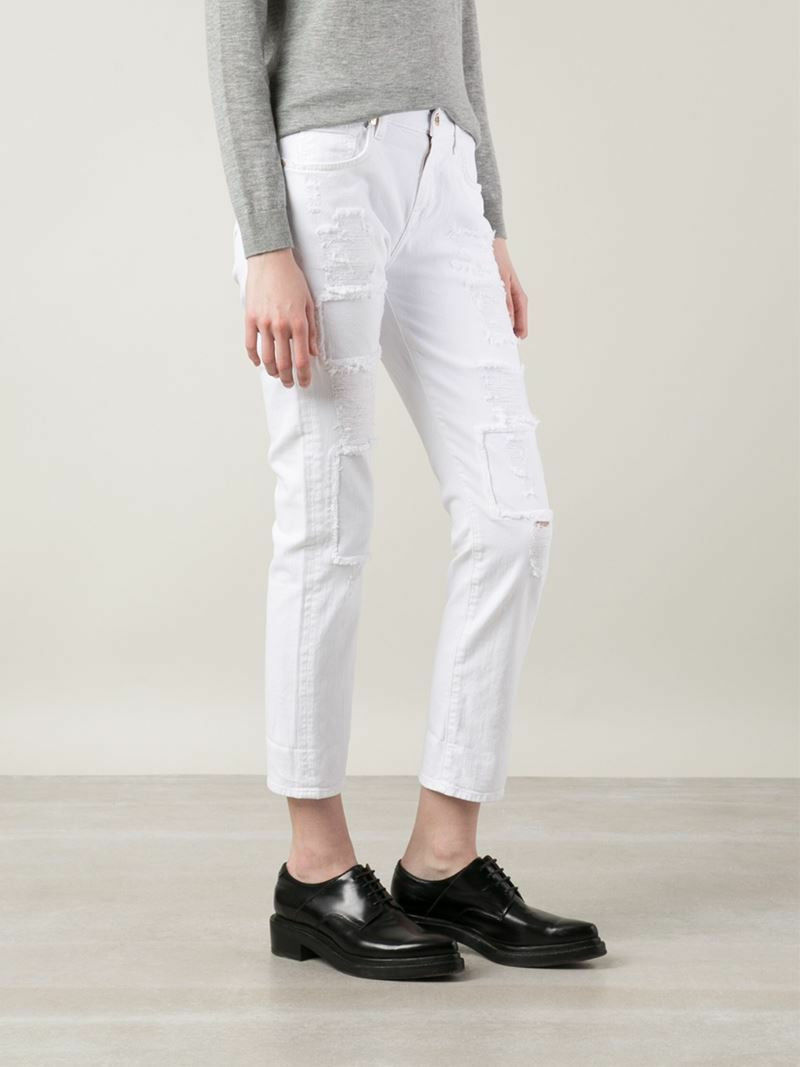 NEW NWT 7 For All Mankind Patch Weiß Relaxed Skinny Girlfriend Jeans 25 26 27