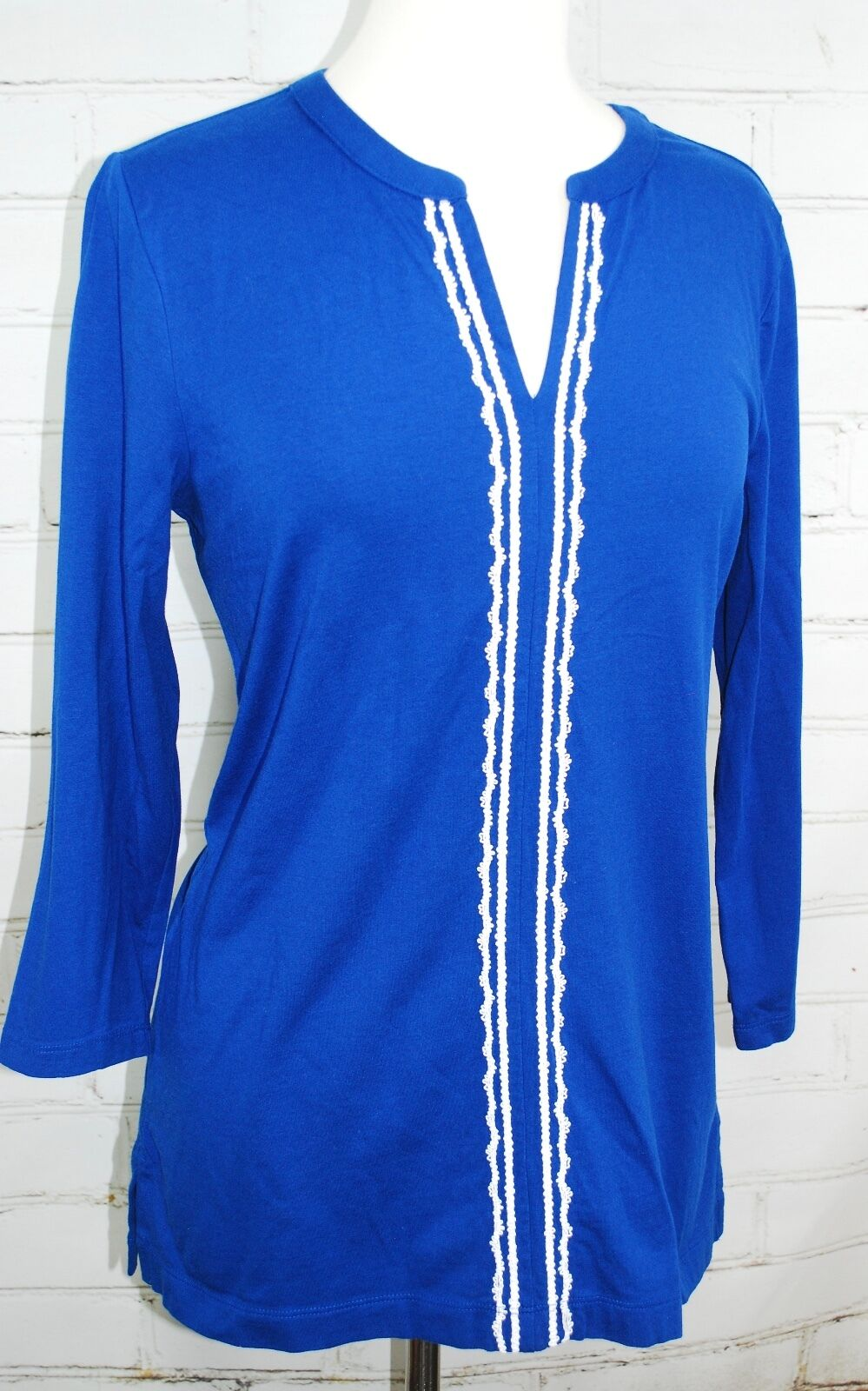 Lands' End Cotton Knit Tunic Top Swimsuit Cover-up bluee Size M 10-12