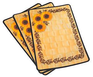 6x-Platzdeckchen-Sonnenblume-abwaschbar-rechteckig-Tischset-Platzdecke-NEU