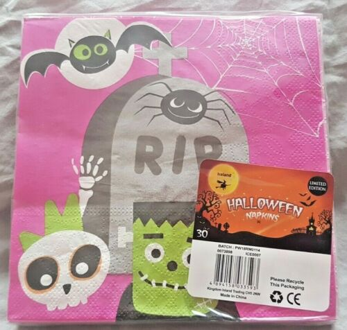 Pack of 30 Sealed Halloween Paper Napkins Two Designs Limited Edition
