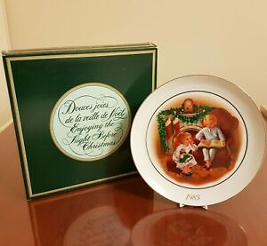 Enjoying-The-NIght-Before-Christmas-Memories-Collector-Plate-Avon-1983-22K-Gold