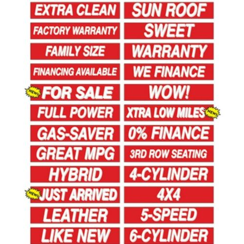 """Car Dealer Windshield Stickers Slogans Red and White 25 packs 15/"""" Mix n Match"""