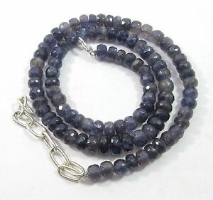 """173Ct 6-9mm Natural Iolite Gemstone Rondelle Faceted Beads 20.5"""" NECKLACE S116"""