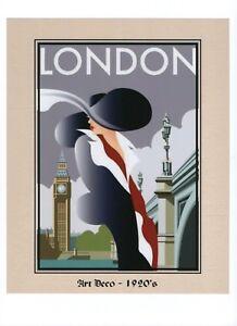 A-10-034-x-8-034-Art-Deco-Print-Lady-in-London-Fashion