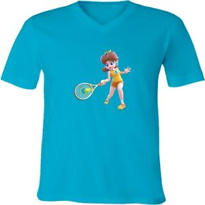 Nintendo-Mario-Princess-Daisy-Tennis-Unisex-Men-Women-V-Neck-Sport-Game-T-Shirt