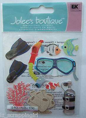 Jolee's Boutique SNORKELING Dimensional Stickers; Diving Tropical Vacation Ocean