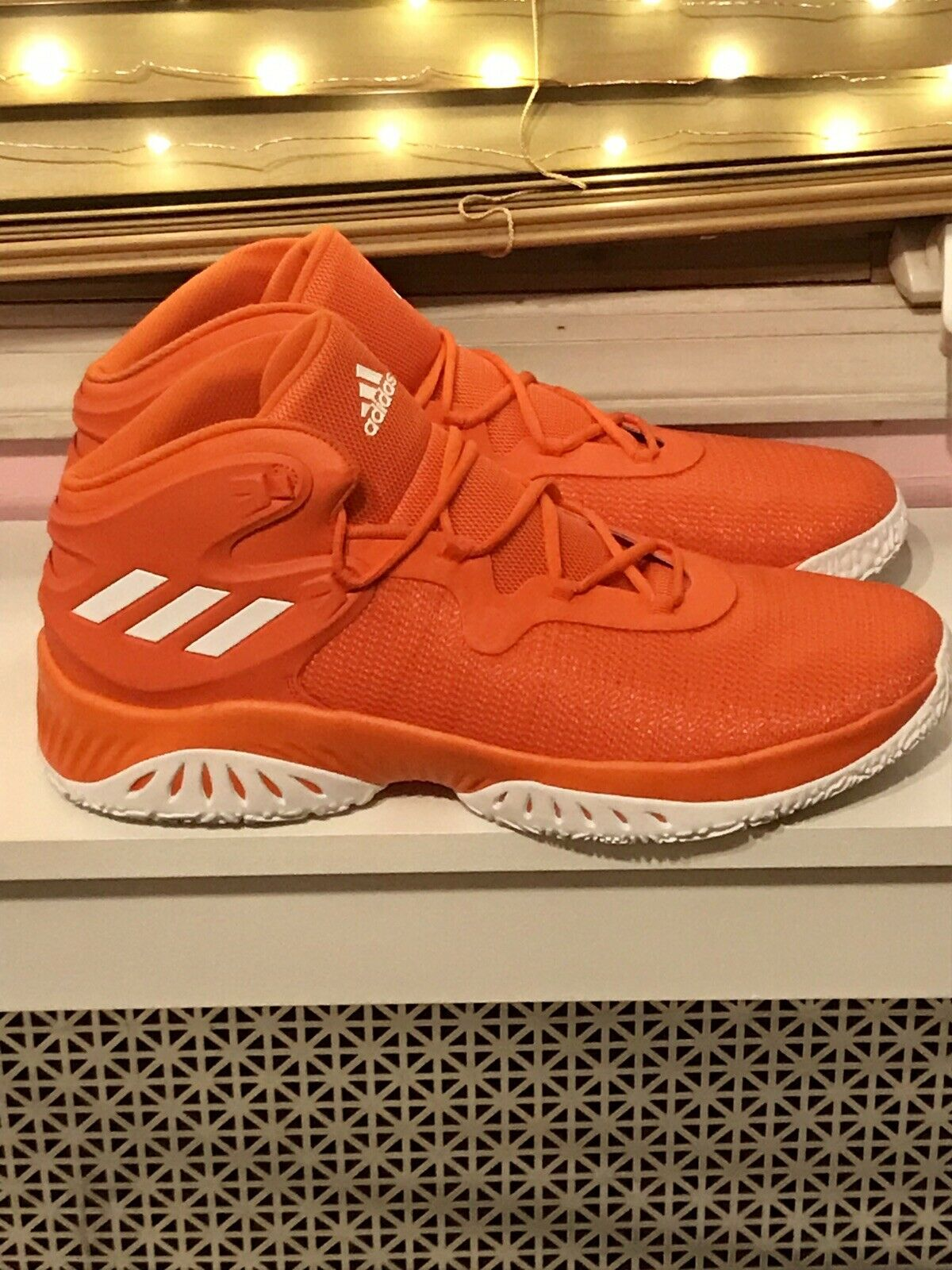 NEW Adidas orange   White Crazy Bounce Basketball shoes Men's Size 17 Sneakers