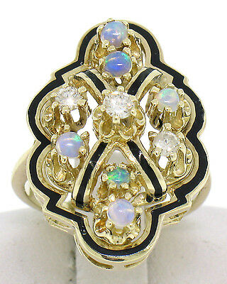 14k Yellow Gold Champleve Black Enamel 0.60ctw Round Opal & Diamond Dinner Ring