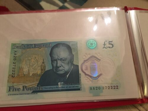 Bank of England UK NEW polymer 5 five pound note. AA2027 2222
