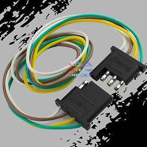 Details zu 4-Pin Plug Trailer Light Wiring Harness Extension Flat Wire on