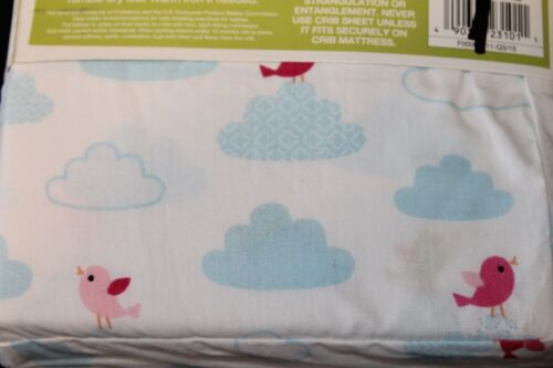 Circo Tweet Dreams Fitted Crib Sheet Toddler Bed Sheet blue pink birds new
