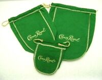 Crown Royal Bags Green 50ml, 375ml, 750ml Lot Of 3 Cotton Felt Drawstring
