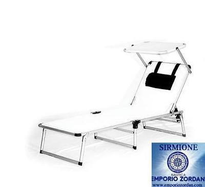 Lettino prendisole da mare pieghevole bianco con tettuccio per spiaggia 05093