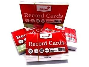 Revision-Flash-Index-Silvine-Record-Cards-White-Plain-Ruled-Coloured-Free-P-P