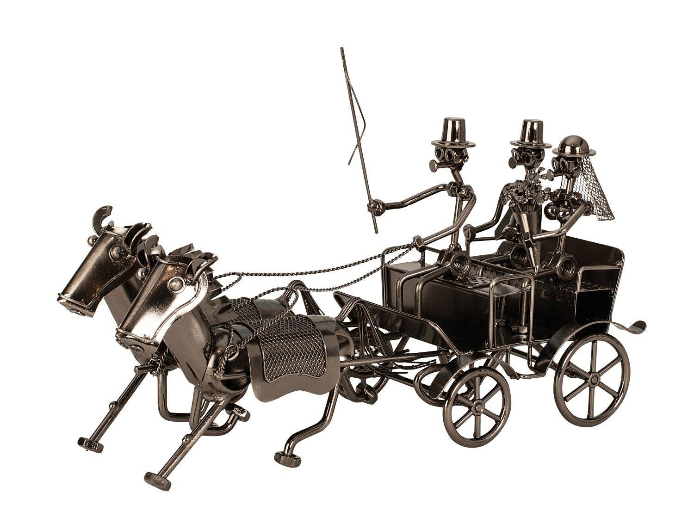 Moderne Hochzeitskutsche Skulptur aus Metall Höhe 19 cm Länge 36 cm | Bunt,  | Stabile Qualität  | Moderne Technologie