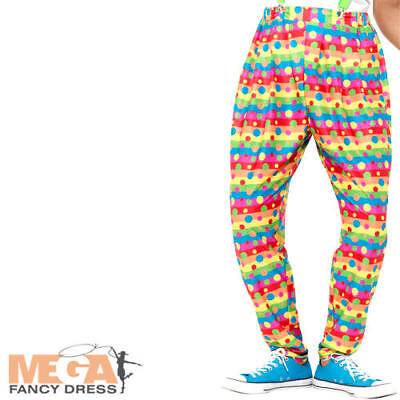 Clown Trousers Mens Fancy Dress Carnival Circus Novelty Fun Adults Costume Pants