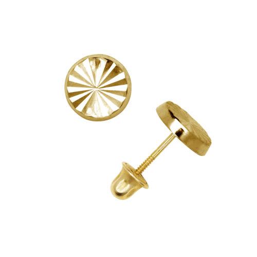 Round Diamond Cut Child Stud Earrings Screw Back 14K Solid Yellow Gold