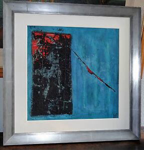 Superbe-tableau-technique-mixte-composition-abstraite-signee-Engelmann