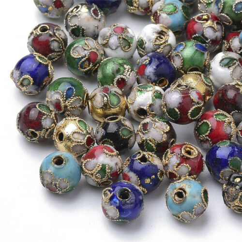 8mm Copper Mixed Color Handmade Cloisonne Beads for Jewelry Making 100Pcs Dia