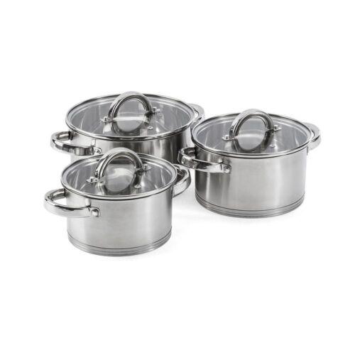casseroles en acier inoxydable Lot de Casserole Pots Casserole Casseroles soupes casseroles induction 6tlg