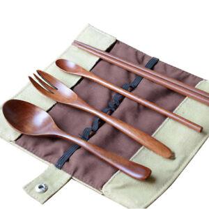6x-Tragbare-Holzloeffel-Gabel-Staebchen-Geschirr-Besteck-Utensilien-mit-Beutel-Kit