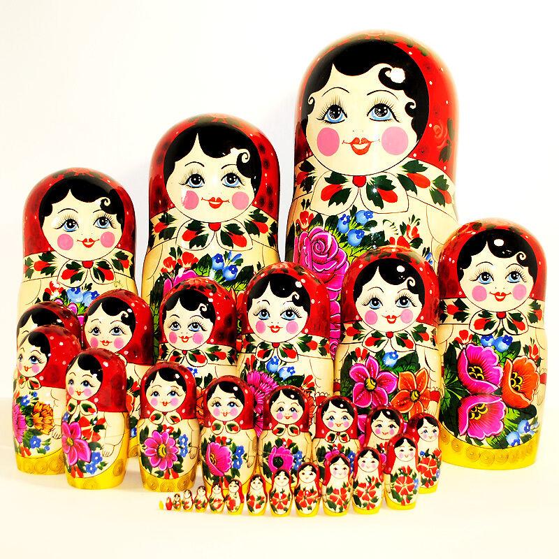 30 Piezas Muñeca Tradicional Rusa rusas Semyonovskaya semenovo Pintado a Mano Regalo