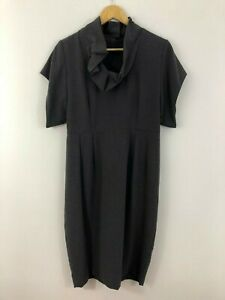 Animale-French-Womens-Dress-Size-40-12-Aus-Grey-Stretch-Sheath-Straight-Work