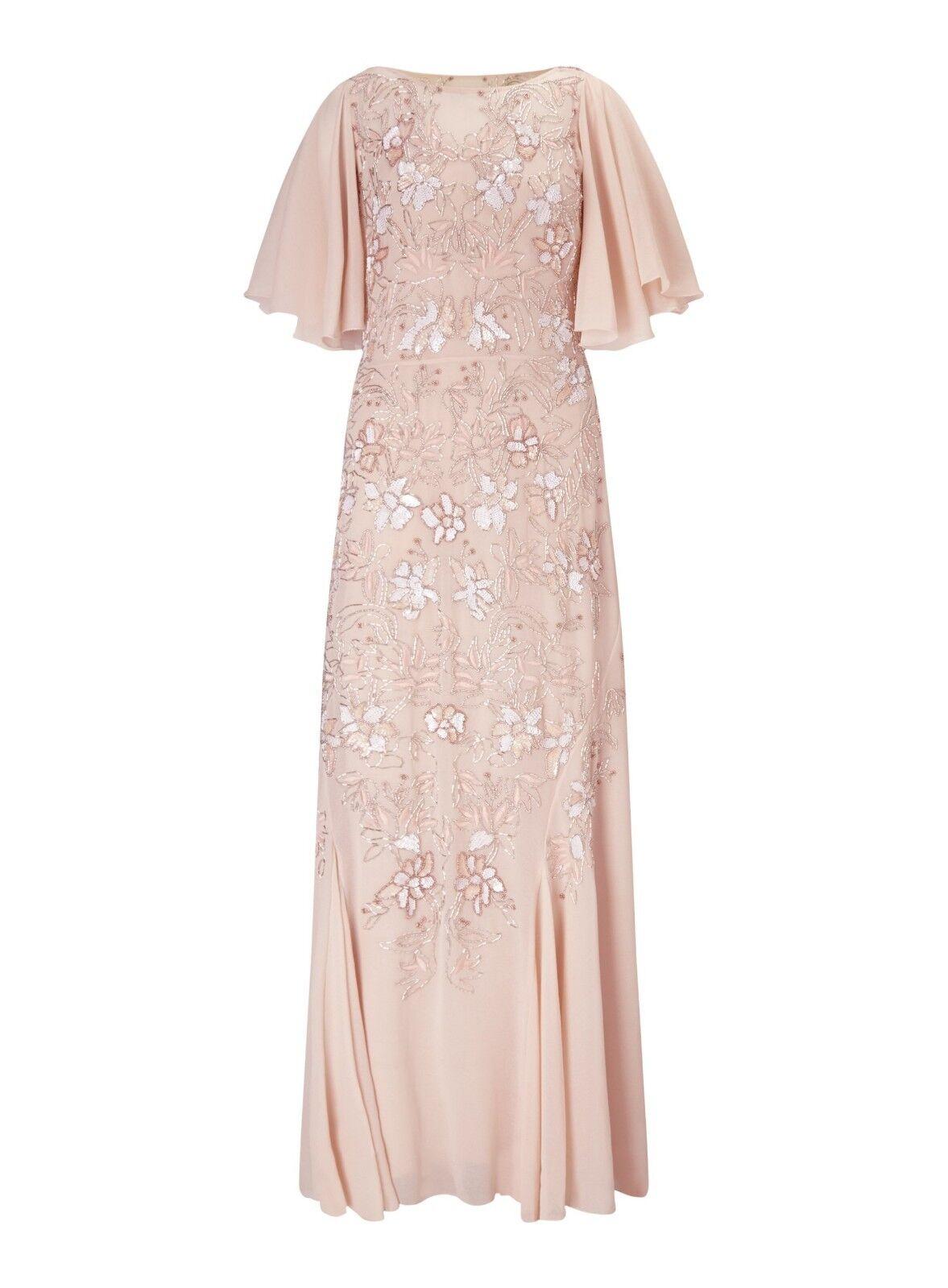 Miss Selfridge Gr. L 40 Damen Maxikleid Coctailkleid Kleid Nude Pailletten A6069