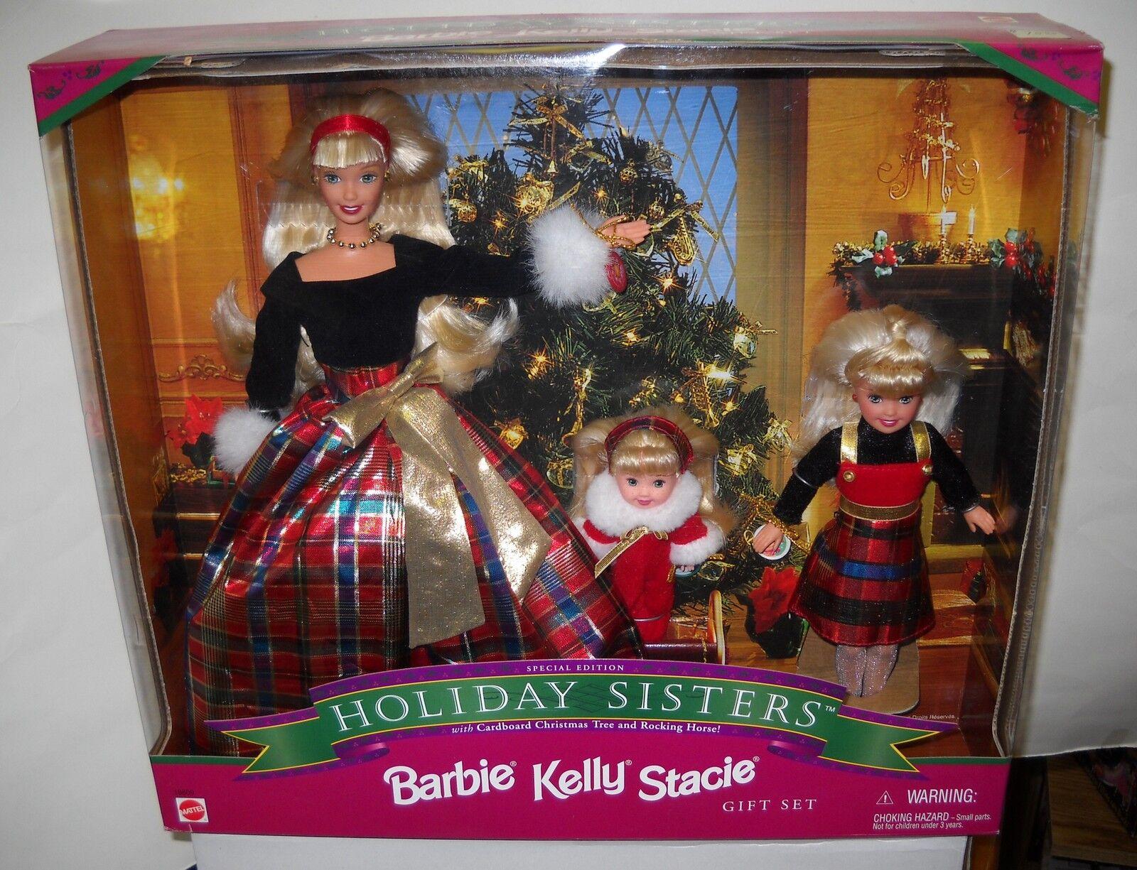 Nrfb Mattel Holiday Sisters Barbie Kelly Y Stacie Muñecas