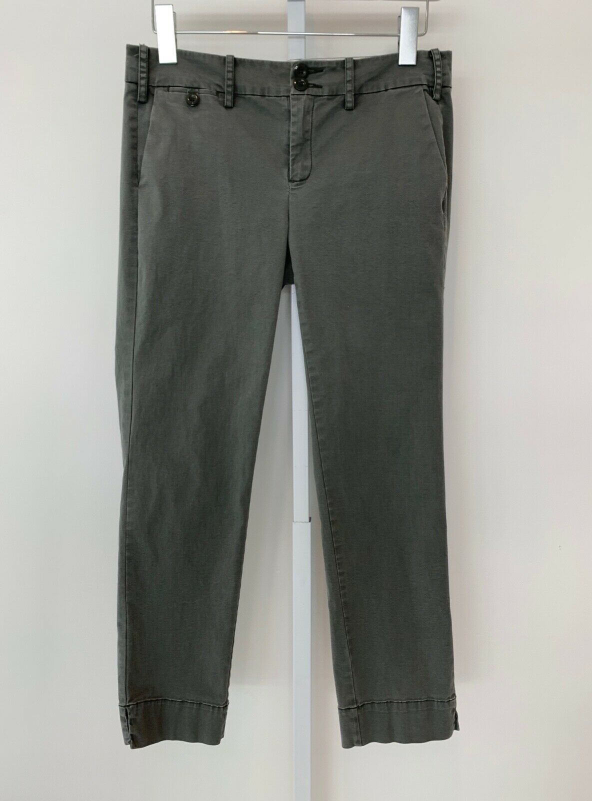 S-1 MILITARY GREEN TONE COTTON SPANDEX CROPPED FLAT FRONT PANTS SIZE 4 NWOTS