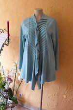 MAGNA Zipfel Jacke Kunstlederoptik 44 46 NEU! Raff-Falten aqua blau LAGENLOOK