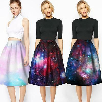 Chic Galaxy Women Ball Gown Pleated Midi Flared Skater A Line Skirt High Waist