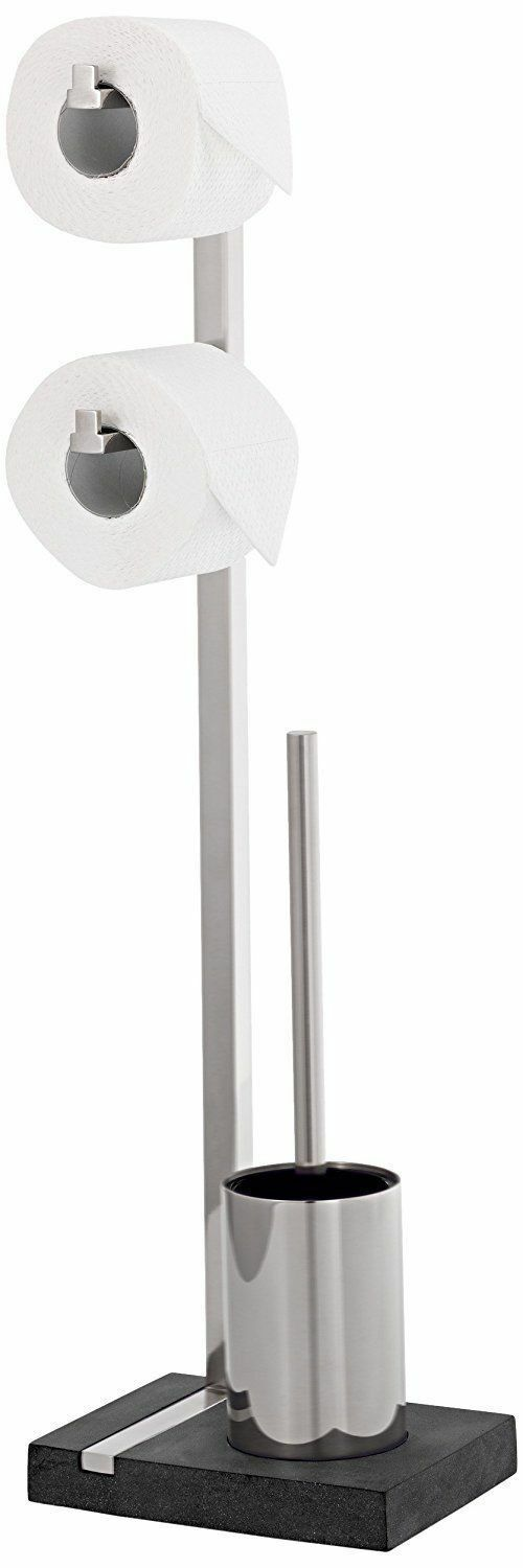 Blomus Menoto Brush and Toilet Paper, Brushed 18 8 Stainless Steel, Bathroom
