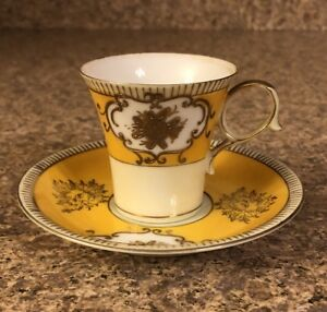 Ucagco-China-Hand-Painted-Japan-Yellow-Gold-Tea-Drink-Cup-Saucer-Glass-Dainty
