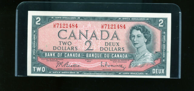 1954 Bank of Canada $2 Beattie Rasminsky UNC Wl12